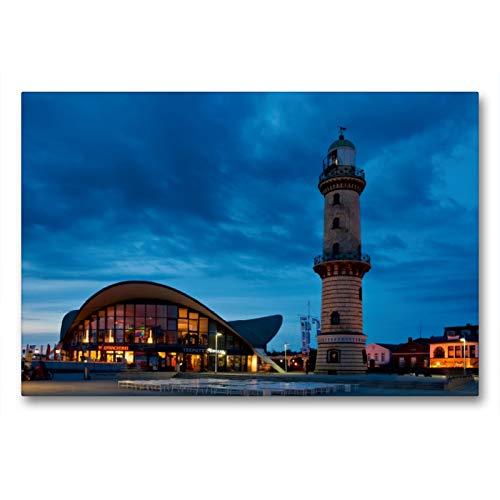 Premium Textil-Leinwand 90 x 60 cm Quer-Format Alter Leuchtturm und Teepot in Rostock Warnemünde   Wandbild, HD-Bild auf Keilrahmen, Fertigbild auf hochwertigem Vlies, Leinwanddruck von Gunter Kirsch