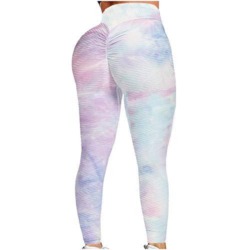 Leggings Push Up de Impresión Mujer Pantalones Deportivos Leggins de Cintura Alta Pantalón de Deporte Mallas de Yoga para Running Training Fitness Jeggings Transpirables Elásticos