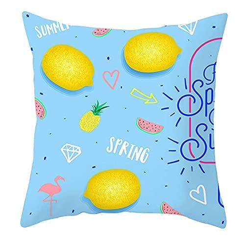 IUYG Funda de almohada cuadrada de microfibra con forma de corazón de limón, color amarillo, azul y rosa