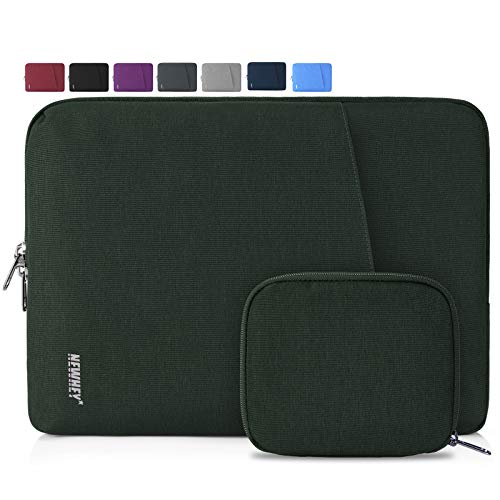NEWHEY Laptop Sleeve Case 13-14 Inch Water Repellent Laptop Cover Bag Shock Resistant Notebook Protective Bag with Small Case Dark Green