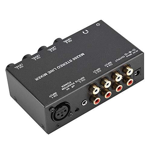 Amplificatore mixer, musica ad alto segnale più chiara e più forte Mini Dj Mixer Multicanale Alta compatibilità con mini mixer per cantare in famiglia(Regolamenti australiani)