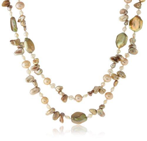 [ピュアパール] Pure Pearl 淡水パール&6角淡水パール ネックレス Y1183N