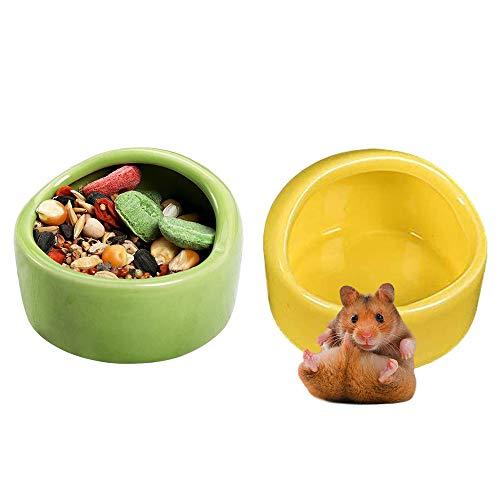 JWShang 2 Keramik-Hamster-Schüssel, Kleintier-Futterschüssel und Wassernapf für Meerschweinchen, Rennmäuse, Mäuse, Igel, Chinchilla, Zucker, Ratte