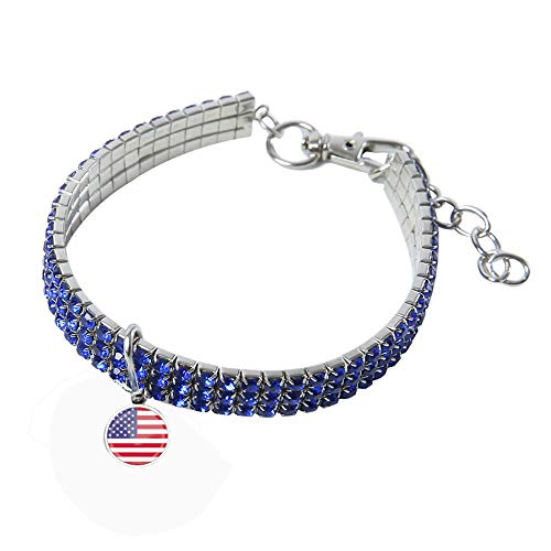 Pet Collar, Bling Dog Rhinestone Collar July Fourth American Flag Diamond Dog Cat Necklace Flexible Elastic Soft Collar for Puppy Small Dogs Cats (M, Blue)