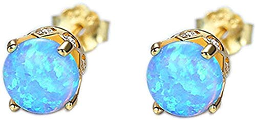 Pendientes de ópalo , tachuelas de plata 925, forma redonda para mujer, piedra natal de octubre, joyería de moda para mujer-Ópalo azul dorado