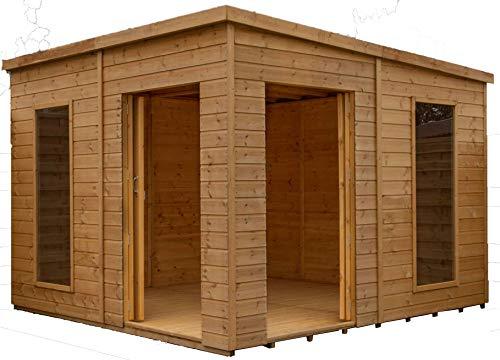 Green Planet UK - 10x10 Premium Pool House Tuinkamer/Zomerhuis - FSC gecertificeerd hout, plat dak, dubbele deuren, Styreen beglazing ramen (10x10 / 10ft x 10ft) 5-14 Dagen Levering