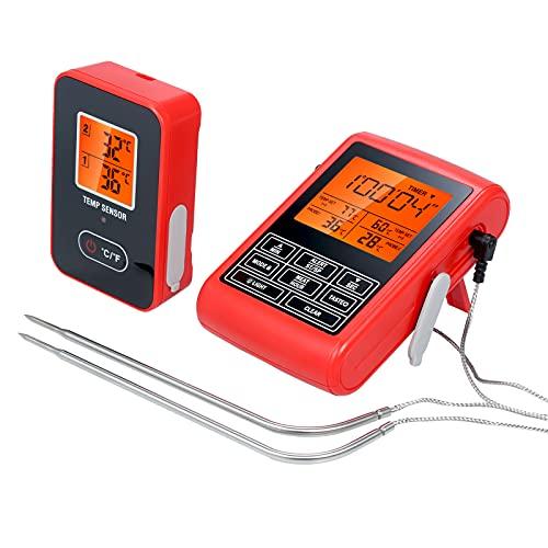 Probador digital de temperatura de alimentos y temporizador Sonda inalámbrica de temperatura de carne para parrilla, barbacoa, cocina, cocina con sondas duales
