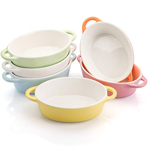 Foraineam 6 Colors Oval Porcelain Ramekins 10 oz Oven Safe Creme Brulee Souffle Baking Ramekin Dishes Bowl with Double Handles