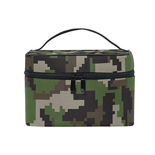 Ahomy Kosmetiktasche mit Mosaik-Camouflage-Muster, für Damen, Kulturbeutel, groß