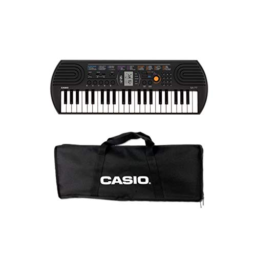 Casio SA-77 - Mini Tastiera polifonica 8 Voci e 44 tasti, Nera/Grigio + Bag Trasporto Originale Casio, Nero
