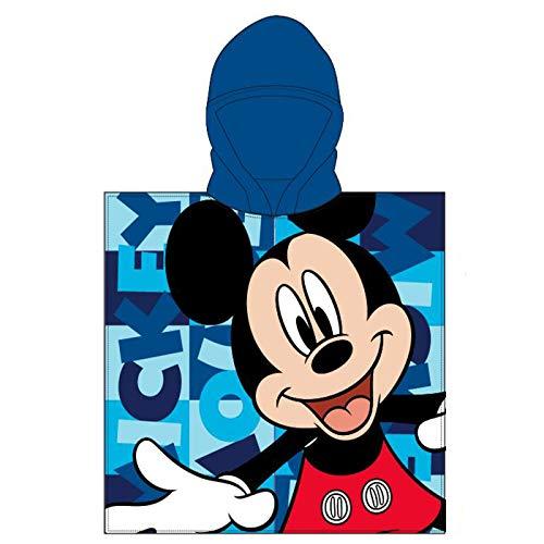 Various Poncho - Toalla Infantil con Capucha de niño y niña Licencia Oficial Disney (Mickey Mouse b)