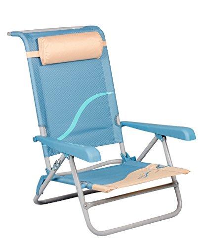 Meerweh Erwachsene Campingstuhl Strandstuhl mit verstellbarer Rückenlehne und Kopfpolster Klappstuhl Anglerstuhl, beige/blau, beige/blau, XXL, 20033