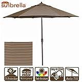 New 9' Wide Sunbrella Umbrella Outdoor Patio Umbrella with Crank and Auto Tilt (9' Crank & Tilt, Sunbrella Cocoa Stripe)