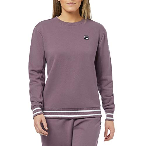 Fila Womens Terry Crewneck Sweatshirt (Black Plum/White, XX-Large)