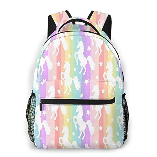 School Backpack Vibrant Rainbow Striped Unicorn Kids Bookbag for Boys Girls Schoolbag Travel Bag