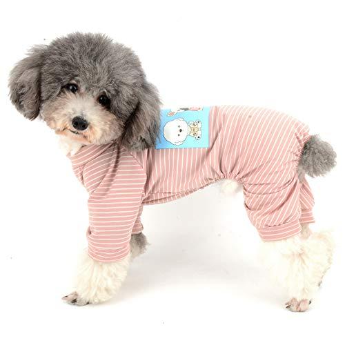 Ranphy Hunde Pyjama Aus Baumwolle Gestreift für Kleine Hunde 4 Beine Welpen Bedruckte Kleidung für Hunde Haustier Overall Cartoon Hoodie Jumpsuit Haustiermantel Hundemantel Schlafanzug Rosa XL