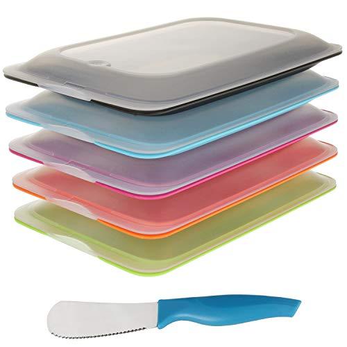 K&G Hochwertige Aufschnitt-Boxen Set platzsparend stapelbar Stapelboxen Vorratsdosen-Set für Aufschnitt Inkl. Brötchenmesser integrierte Servierplatte. Frischhaltedosen Kühlschrank (5er Sortiert)