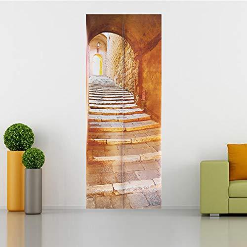Wchaoen Escalera de piedra 3D Arte Puerta Pared Frigorífico Sticker Decal Autoadhesivo Mural Home Office Decor Accesorios para herramientas