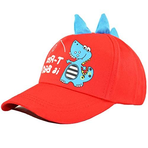 Yixda Unisex Jungen Mädchen Snapback Kappe Kinder Sonnenhut Baseball Cap (Rot)