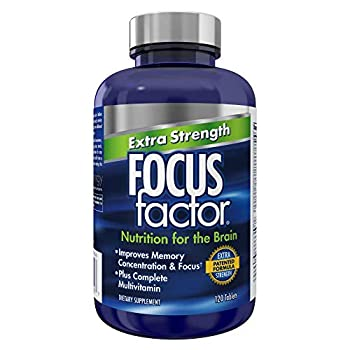 Focus Factor Extra Strength 120 Count - Brain Supplement for Memory Concentration and Focus - DMAE Vitamin D DHA & More - Brain Health Supplement – Trusted Formula - Brain Vitamins Focus Pills