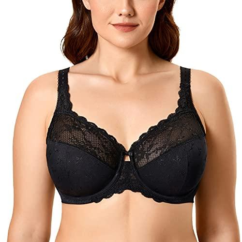 DELIMIRA Women's Minimizer Full Coverage Plus Size Lace Unlined Underwire Bra Black 48E