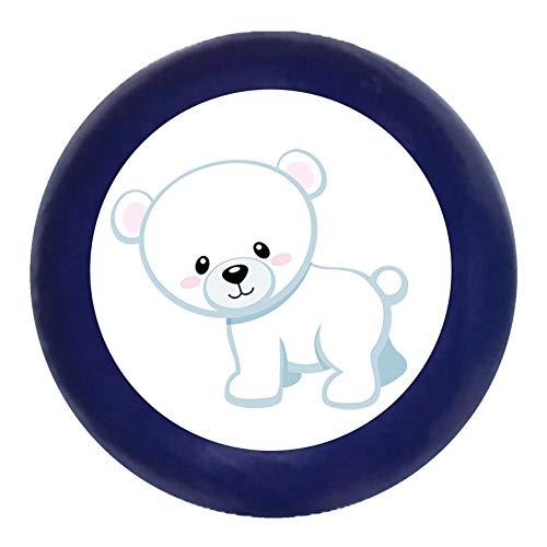 """Türknauf""""Eisbär stehend"""" dunkelblau Holz Buche Kinder Kinderzimmer 1 Stück wilde Tiere Zootiere Dschungeltiere Traum Kind"""