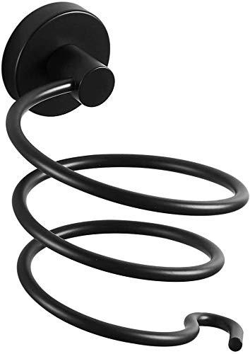 YUET Soporte de pared para secador de pelo en espiral, construcción de aluminio, color negro, estante de almacenamiento para cuarto de baño y ducha
