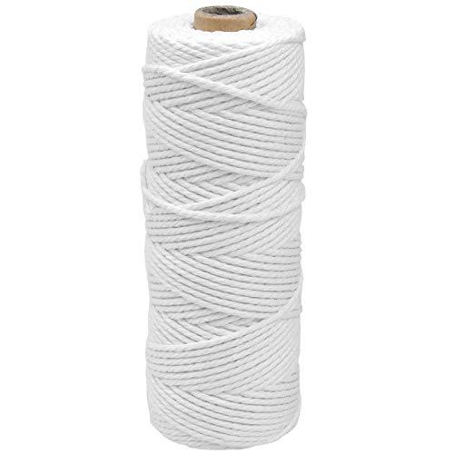 100M Blanco Macrame Cuerda Cordel de Algodón, 2mm Cordón Hilo Macrame, Cuerda Trenzada de Algodón, Hecha a Mano Craft Cuerda para Envolver Regalo Costura DIY Artesanía Decoración Bohemia