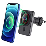 Magnetic Wireless Car Charger, 15W Qi Magnetic Car Air Vent Mount Charger Wireless ,15W Fast Charging Automatic Clamping Air Vent Car Phone Mount Compatible with iPhone 12/12 Mini/12 Pro/12 Pro Max