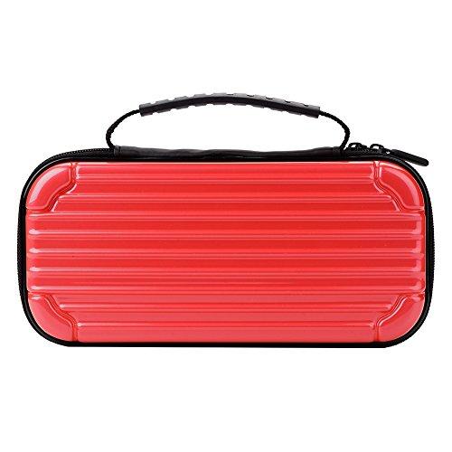 Cosiki Bolsa de Consola, Estuche de Transporte de Consola Estuche de Transporte portátil de Gran Capacidad con Doble Cremallera, Bolsa de Consola portátil para Nintendo Switch(Red)