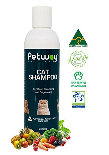 Petway Petcare Cat Shampoo – Natural Pet Dandruff Shampoo, pH Balanced Shampoo with Plant Derived Surfactant, Free of DEA, Phosphates, Parabens & Enzymes, Removes Excess Oil, Dirt and Dandruff – 250ml