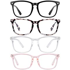 [EYEGLASSES FRAME DIMENSION] Lens Width:53MM, Leg Length:140MM, Bridge Width:18MM Blue Light Nerd Glasses [ANTI BLUE LIGHT LENS] WMAO Anti Blue Ray Glasses can block 80%-90% harmful blue ray, while the lens with light yellow tint can filter 100% UV R...