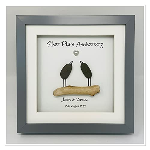 23rd 23 Years Silver Plate Wedding Anniversary Picture Frame Gift Personalised (Frame Colour Choice) - Pebble Birds