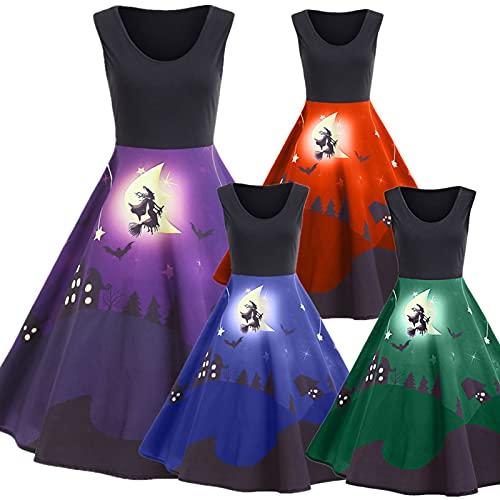 Vestido feminino vintage de Halloween Rockabilly para formatura e coquetel, Roxa, P