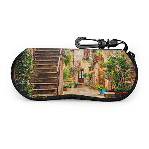 Callejón en el casco antiguo de Pitigliano Toscana Italia 3024116 Estuches para gafas múltiples Estuche de viaje Gafas de sol Estuche blando portátil ligero Estuche para gafas de sol para hombre