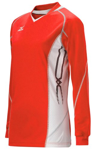 Mizuno Women's National IV Long Sleeve Volleyball Jersey, Red-White, Medium