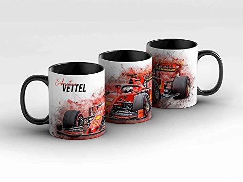 gasoline.gallery Formel 1 Tasse - Sebastian Vettel - Scuderia Ferrari Mission Winnow schwarz Kaffeebecher