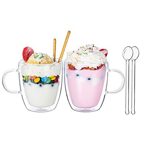 Joeyan Bicchieri a Doppia Parete Set di 2-400ml Bicchieri Termici da caffè con Manico - Tazza in Vetro Borosilicato per Latte, Cappuccino, Succo, tè, Acqua - Gratuito 2 Cucchiai