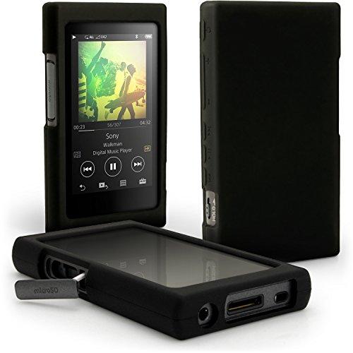 igadgitz U6339 Funda Carcasa Silicona Case y Protector de Pantalla Compatible con Sony Walkman NW-A35, NW-A40, NW-A45 - Negro
