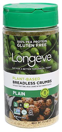 Longève Gluten-Free Bread-less Crumbs (PLAIN), Breadcrumb Alternative, Premium Product – 5.5 Ounce
