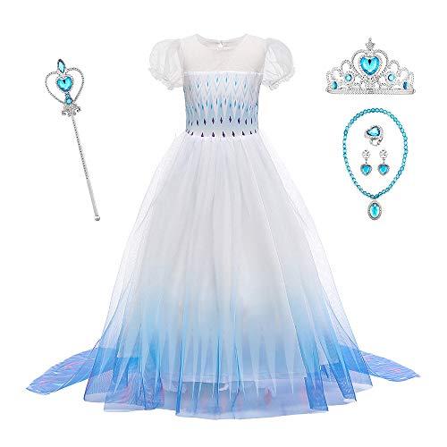 O.AMBW Disfraces con Accesorios Vestido de Princesa con Capa Larga Manga Abullonada Disfraz Azul Frozen Halloween Cosplay Princesa Elsa Carnaval Regalo Navidad Cumpleaos Nias 2-12 aos