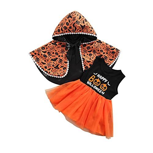 MoccyBabeLee Niño Niña Halloween Calabaza Vestido Conjunto Calabazas Imprimir Vestido sin Mangas +Naranja Capa de Manga Larga Invierno Ropa de Halloween, naranja, 24 meses