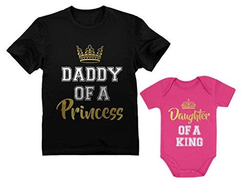 Father & Daughter Matching Set Gift for Dad & Baby Girl Bodysuit & Men's Shirt Man Black Large/Baby Wow Pink Newborn (0-3M)
