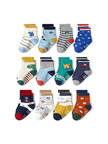 ZYBC Calzini antiscivolo per bambini, in ABS, 12 paia di calzini per bambini, antiscivolo, per bambini da 1 a 7 anni, per bambini e bambine
