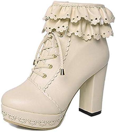 HOESCZS Stiefel Martin Stiefel De Cuero Invierno De La damen Stiefel Martin De Súper Tacón Alto Gruesas De damen Stiefel Cortas con Cordones damenes