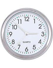 Vosarea Salpicadero del Coche Reloj del Coche Reloj noctiluciente electrónico Puntero Luminoso para decoración Interior de automóviles (Blanco)