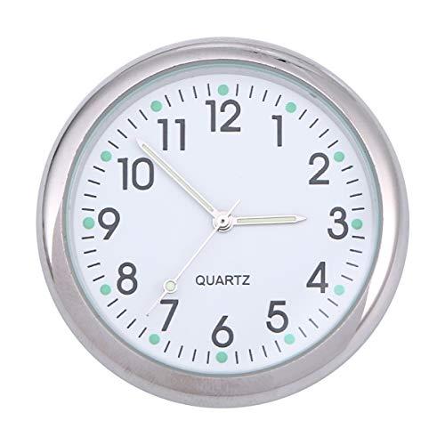 LIOOBO - Reloj de coche Mini torre de coche, ventilación del reloj de salpicadero de cuarzo, reloj electrónico universal, indicador luminoso para la decoración interior automática (blanco)