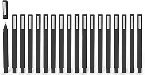 Ball Pens, Vivii Premium Gel Ink Roller Ball Pens, Fine Point, Black Ink, 6 Per Box, Extra Fine(0.5mm), 18 Pack