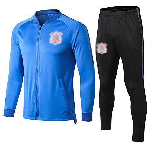 BCGG 19-20 Saison Kinder Fußball Trikot Corinthians Langarm Trainingsanzug Spieluniform Herren Sportbekleidung Indoor- und Outdoorjacke 2-teiliges Set (Top + Hose) -Blue_XL