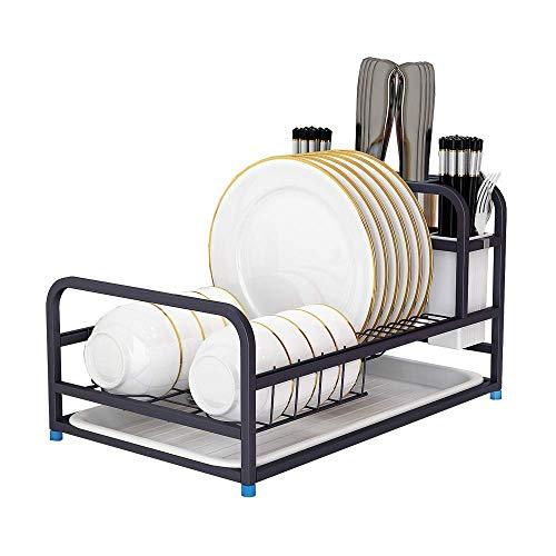 Estante para platos de cocina, mostrador de cocina grande con bandeja de filtro de agua extraíble, 2 estantes, tablero de drenaje, soporte para tablas de corte, 3 estantes para cubiertos, utensilios,
